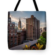 Empire State Building Sunset Rooftop Garden Tote Bag
