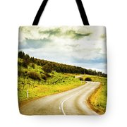 Empty Asphalt Road In Countryside Tote Bag