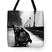 Empty Benches In The Snow Tote Bag