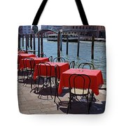 Empty Canal Side Tables Awaiting Hungry Customers In Venice, Italy  Tote Bag