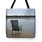Empty Chair On Autumn Morning Tote Bag