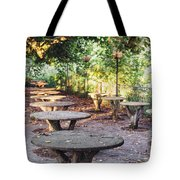 Empty Picnic Tables In The Early Fall With Fallen Leaves Tote Bag