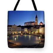 Empty Tartini Square In Piran Slovenia With Courthouse, City Hal Tote Bag