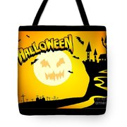 Enchanted Castle Over The Zombies Cemetery In Halloween Night Tote Bag