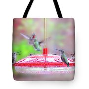 Encounter At The Feeder Tote Bag
