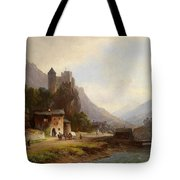 Encounter In A Mountain Valley Tote Bag