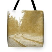End Of The Rail-sepia Tote Bag