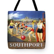 England Southport Restored Vintage Travel Poster Tote Bag