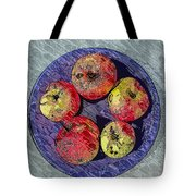 Engraved Wormy Apples Tote Bag