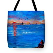 Enjoying The Sunset Differently Tote Bag