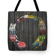 Enso Symbol Recycled Vintage Michigan License Plate Art Tote Bag