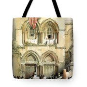Entrance To Church Of The Holy Sepulchre Card Tote Bag