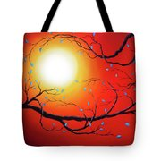 Entwining Branches Of Turquoise Leaves Tote Bag