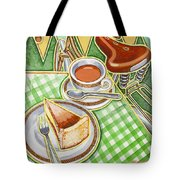 Eroica Britannia Bakewell Pudding And Cup Of Tea On Green Tote Bag