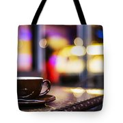 Espresso Coffee Cup In Cafe At Night Tote Bag