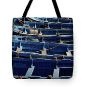 Essaouira Blue Boats Tote Bag