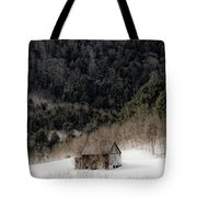 Ethereal Barn In Winter Tote Bag