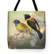 Ethereal Birds On Snowy Branch Tote Bag