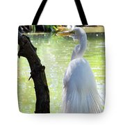 Ethereal Snowy Egret Tote Bag