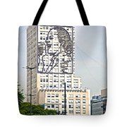 Eva Peron Outlined On The Wall Of A Skyscraper On July Nine Avenue  In Buenos Aires-argentina Tote Bag