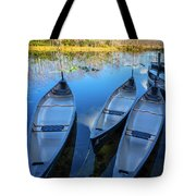 Evening Canoes At The Dock Tote Bag