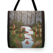 Evening Forest Waterfall Tote Bag