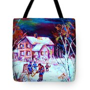 Evening  Game At The Chalet Tote Bag