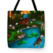 Evening In The Deep Green Forest Tote Bag