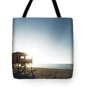 Evening Sun On Lifeguard Tower On Ostriconi Beach In Corsica Tote Bag
