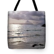 Evening The Isle Of Eigg  Inner Hebrides From The Beach At Arisaig Scotland Tote Bag