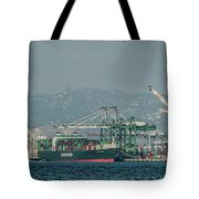 Evergreen Freight Ship And Cargo In Port Of Oakland, California Tote Bag