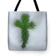 Evergreen Snow Cross Tote Bag
