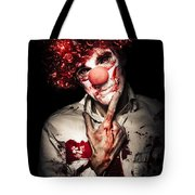 Evil Blood Stained Clown Contemplating Homicide Tote Bag