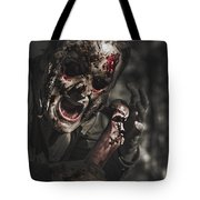 Evil Male Zombie Screaming Out In Bloody Fear Tote Bag