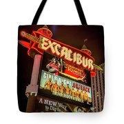 Excalibur Casino Sign Night Tote Bag
