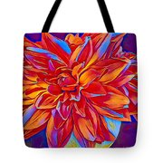 Exciting Red Dahlia Tote Bag