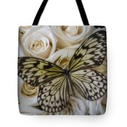 Exotic Butterfly On White Roses Tote Bag