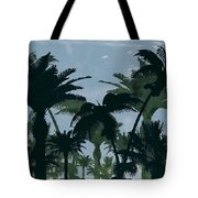 Exotic Palm Trees Silhouettes Water Color Tote Bag
