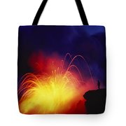 Exploding Lava And Person Tote Bag