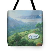 Exploring New Landscape Spaceship Tote Bag
