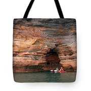 Exploring The Sea Caves Tote Bag