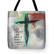 Expressionist Cross Love Mercy- Art By Linda Woods Tote Bag