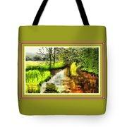 Expressionist Riverside Scene L A With Alt. Decorative Printed Frame. Tote Bag