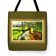 Expressionist Riverside Scene L A With Decorative Ornate Printed Frame Tote Bag