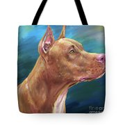 Expressive Painting Of A Red Nose Pit Bull On Blue Background Tote Bag
