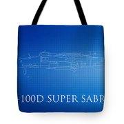 F-100d Super Sabre Blueprint Tote Bag