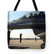 F-16 Fighting Falcons Parked Tote Bag by Stocktrek Images