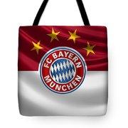 F C Bayern Munich - 3 D Badge Over Flag Tote Bag