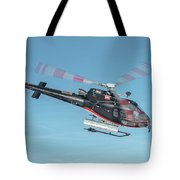 F-gsdg Eurocopter As350 Helicopter In Blue Sky  Tote Bag