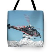 F-gsdg Eurocopter As350 Helicopter Over Mountain Tote Bag